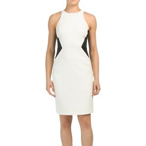 Halston Heritage black white strappy dress